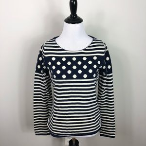 Anthropologie Sparrow Polka Dot Striped Sweater S